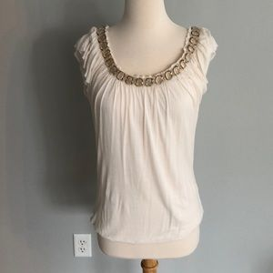 Off White Jeweled Top